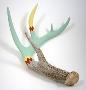 Cassandra Smith painted antler at Animalia by Chastitie