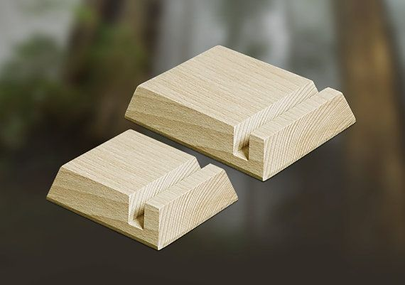 2 Handmade Wooden Tablet Smartphone Stands Eco