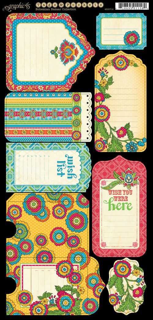 Bohemian Bazaar Tags & Pockets01- Click on the image- save as!