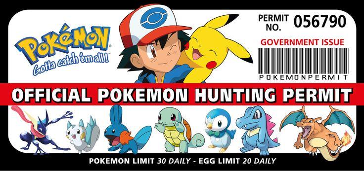 Pokemon Hunting Permit Funny Bumper Car Fridge Wall Stickers