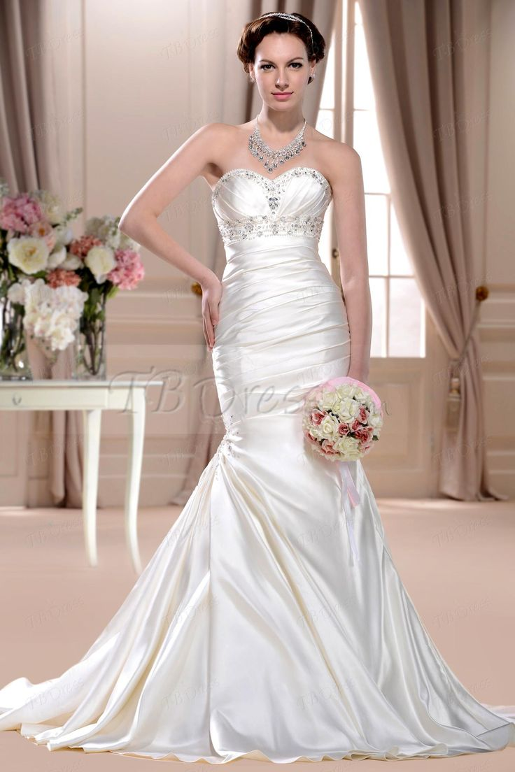 Sumptuous Trumpet/Mermaid Sweetheart Floor-length Chapel Wedding Dresses with Pick-ups