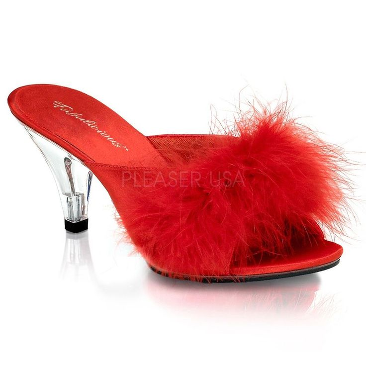womens sexy high heels marabou red feather slippers evening 3 shoes