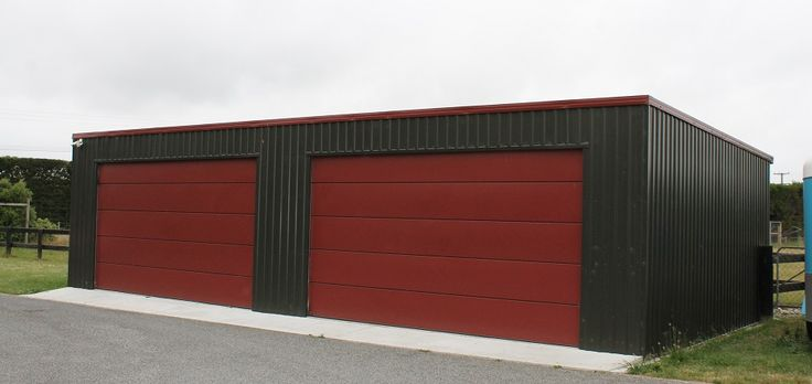 Flat Roof Double Door Garage Garage Doors Metal Garage
