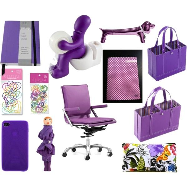 Stylish Purple Office Supplies With