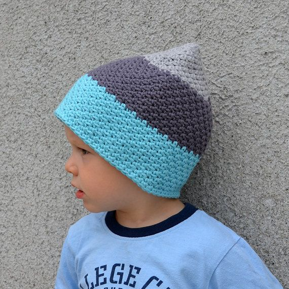 Check out Baby Boy Cotton Hat in Blue Turquoise and Grey on acrazysheep