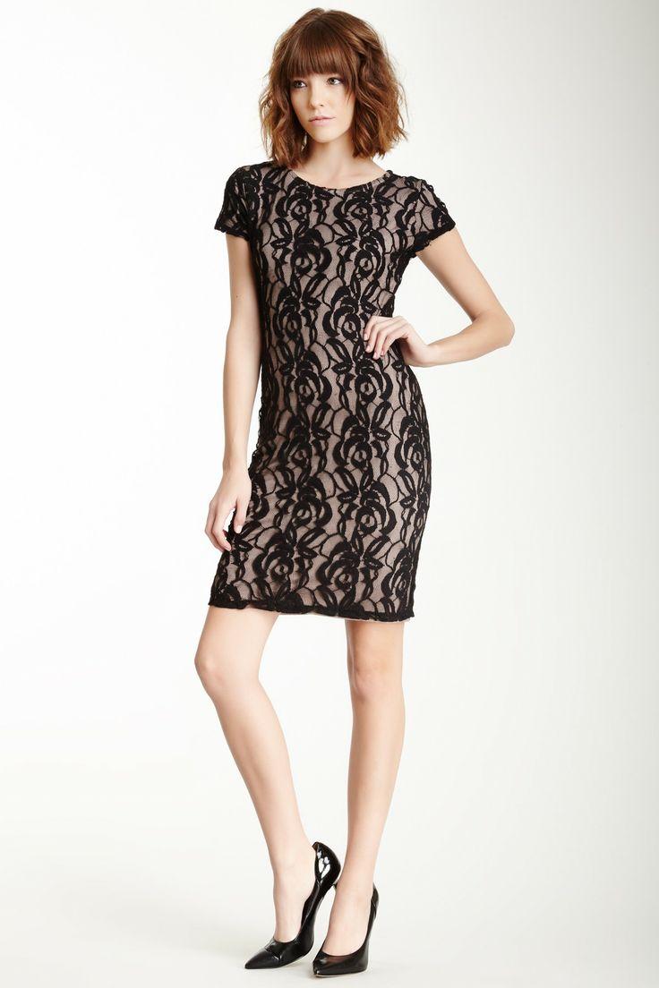 Bobeau Short Sleeve Lace Midi Dress