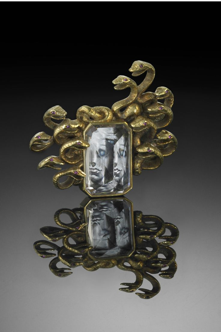 Verdura Gold, Morganite and Ruby 'Medusa' Brooch, circa 1941 - Framing a miniature painting of Medusa by Salvador Dali