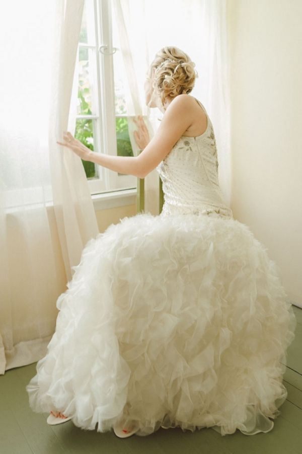 pretty Sue Wong wedding gown // photo by JeffLovesJessica.com