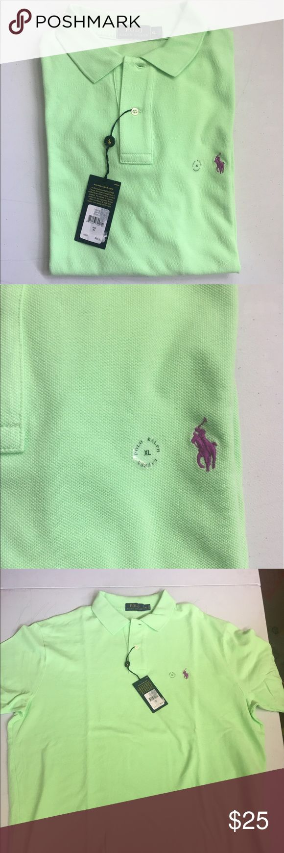 Polo Ralph Lauren Classic Fit Mesh Polo Shirt Rubbed Polo collar, applied 2-button placed, short sleeves with ribbed armbands. Collar & armbands are constructed to retain their fit even after multiple washes. I even vented hems. 100% Cotton. Originally $85. FIRM ON PRICE. Color is called Cruse Lime. Color may be different than picture due to lighting, monitor, or personal opinion. Polo by Ralph Lauren Shirts Polos