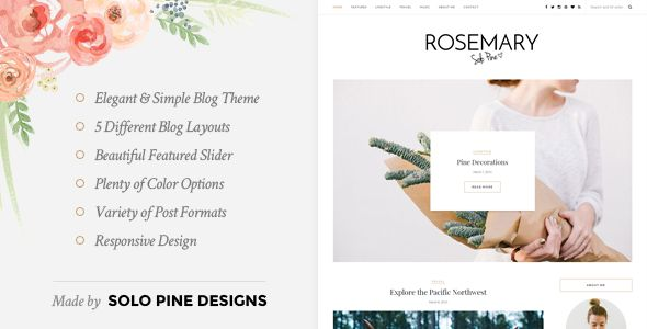 Rosemary is a light & bright blog theme, tailored to showcase your content in an effortlessly timeless style. #food #blog #design