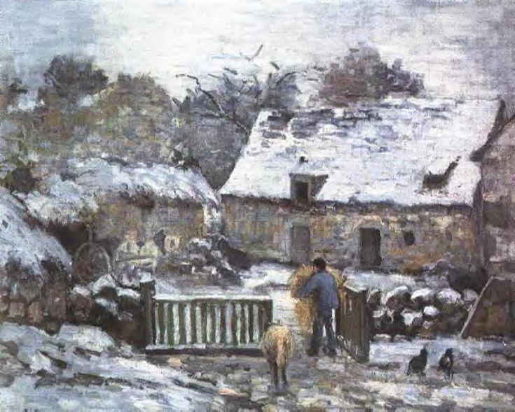 Farm at Montfoucault 2, 1874 - Camille Pissarro -