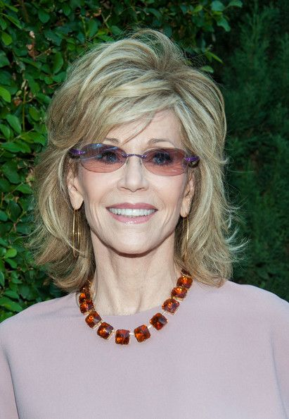 Jane Fonda Medium Layered Hairstyle - Jane wore her hair in chic tousled layers.