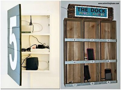 Use a medicine cabinet with a built in outlet, and mesh baskets for the phones/speakers/iPad/etc.