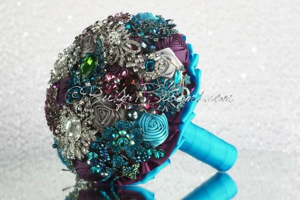 Purple Teal Wedding Brooch Bouquet | Heirloom wedding brooch bouquet | Silver Plum Purple Teal Wedding Theme Ideas for Perfect Wedding and Bridal Accessories