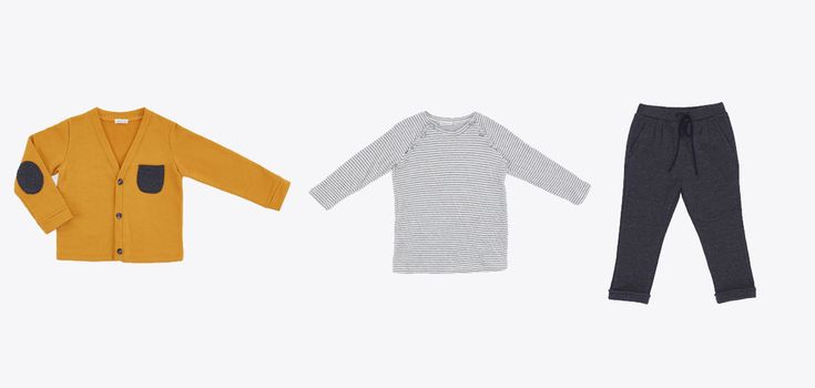 BW18304-9 Cardigan with grey pocket / mustard-coloured UW18101-17A Striped t-shirt /color white and grey BW18601-4 Pant /color charcoal grey