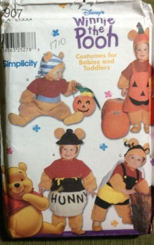 simplicity pattern 9907 babies and toddlers winnie the pooh halloween costume pattern sz a 1 - Baby Halloween Costume Patterns
