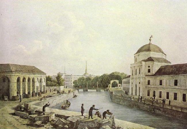 1809-Martinov-River Moica-Мартынов А. Е. Вид на Мойку у здания Конюшенного ведомства
