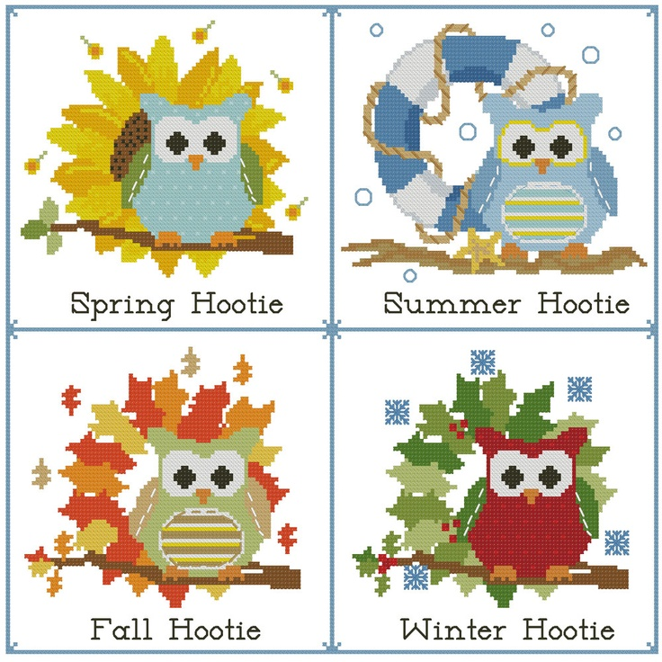 Winter, Spring, Summer, Fall. These Hooties are prepared for any change  in the weather! Stitch individually or as a sampler.    Mini Cross Stitch Pattern:Hooties Seasons of the Year  Design Source:Jessica Weible Adaptation  DMC Floss Colors:25  Stitch Count:175x169