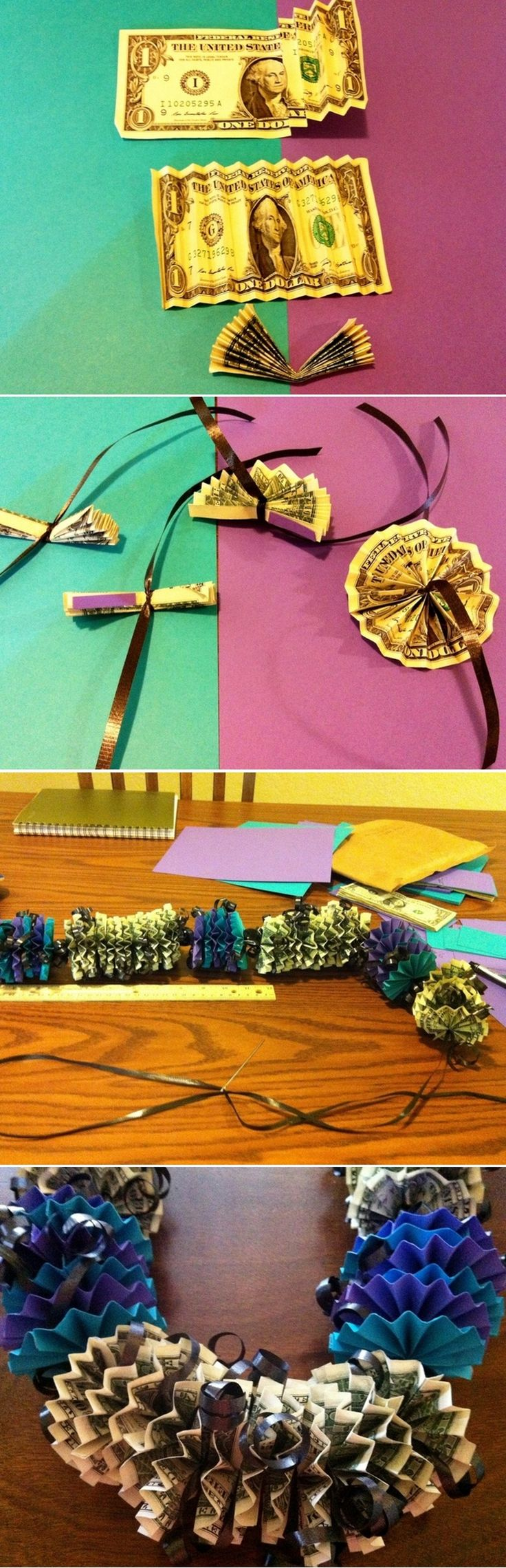 DIY Money Lei-great for gift for teens birthdays, christmas, or other holidays when you just dont know what to get them!