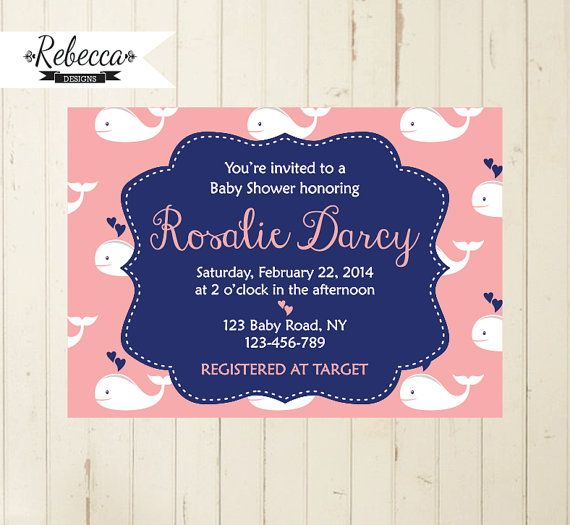 whale baby shower invitation nautical baby by RebeccaDesigns22