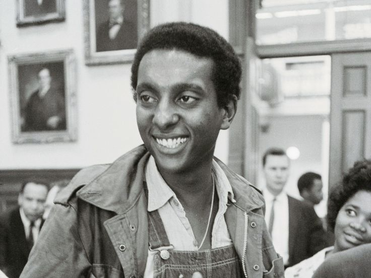 """""""Stokely Carmichael, chairman of the Student Nonviolent Coordinating Committee, speaks to reporters in Atlanta in May 1966. That year, his use of the phrase 'black power' at a rally in Mississippi grabbed the nation's attention."""""""