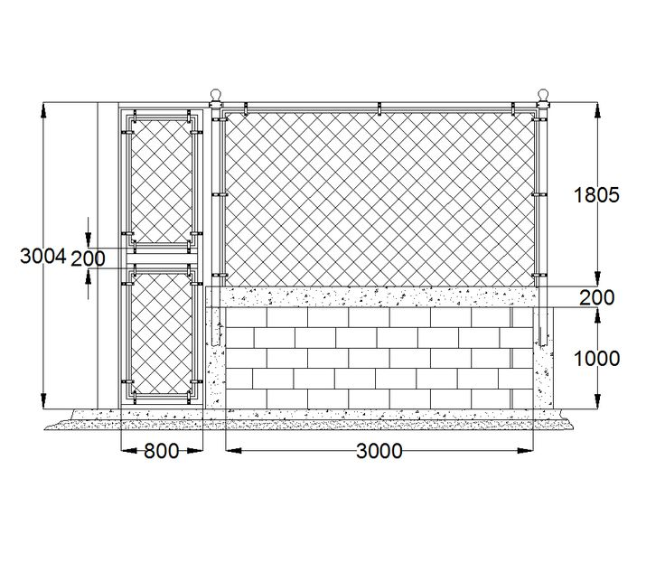2d Cad Mesh Fence And Gate Detail Cadblocksfree Cad