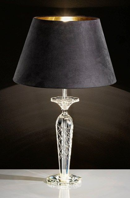 Exceptional The Eglo Corliano Large Cut Crystal Table Lamp Comes Complete With A Black  Drum Shade With