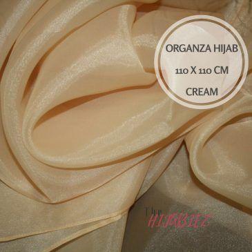 Hijab Organza Silk Square Cream