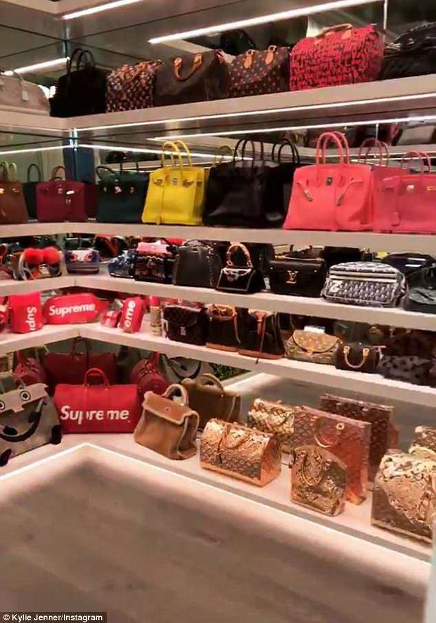 70e7c5243 Kylie Jenner shows off her incredible $1M handbag collection in 2019 ...