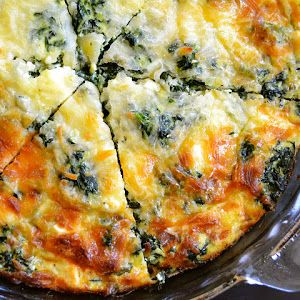 spinach, mushroom & feta crustless quiche - think I too would prefer cheddar over feta on this recipe -