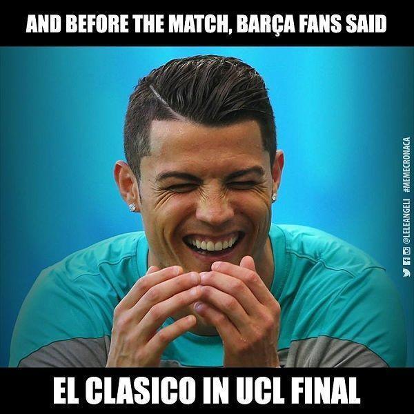 Przed meczem fani Barcy mówili, że El Clasico będzie w finale Ligi Mistrzów • Cristiano Ronaldo śmieje się z FC Barcelony • Zobacz >> #football #soccer #sports #pilkanozna
