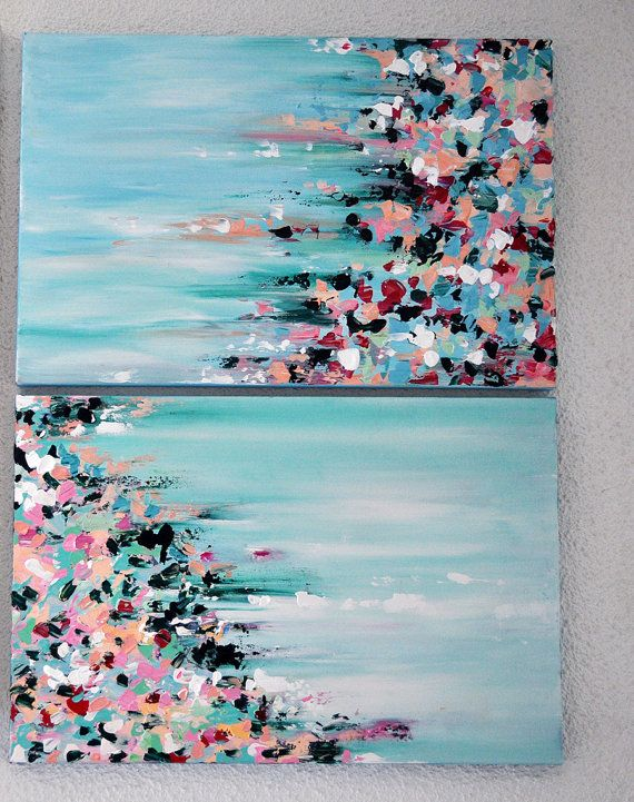 Original Abstract Painting Diptych Set of Two by AbstractArtM