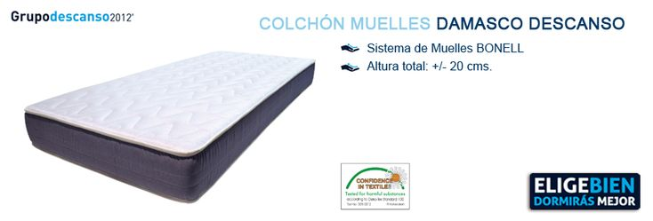Colchón de muelles DAMASCO DESCANSO - http://colchonesvisco.net/colchones/colchones-muelles/colchon-muelles-damasco-descanso/
