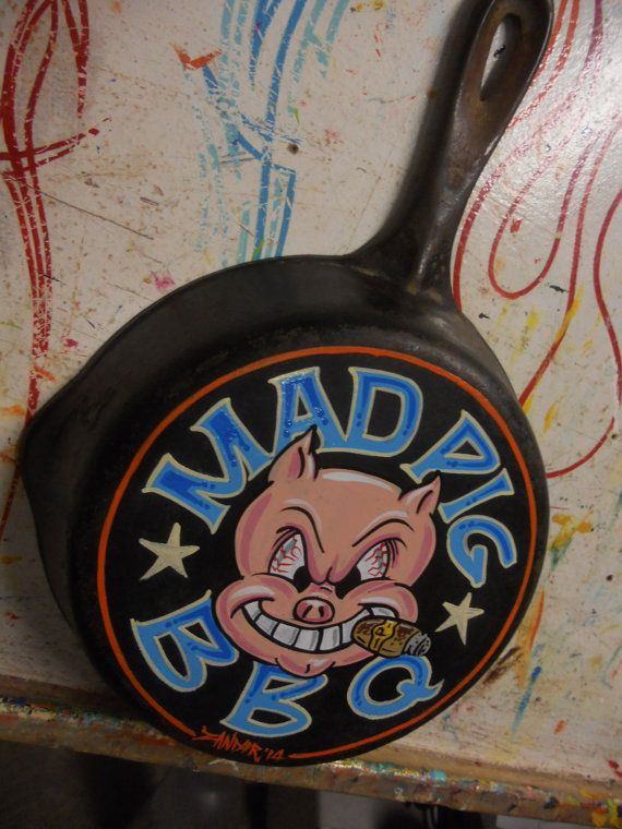 Hand painted Garage Art mad pig bbq frying pan by Lumpysgarage