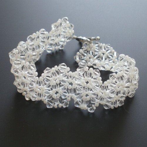 Wedding lace  elegant white cream preciosa seed by koralikowyraj
