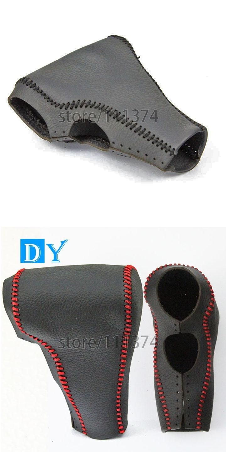 visit to buy genuine leather black line car gear shift knob cover for ford