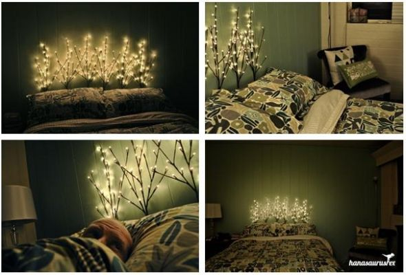 Diy lighted branch headboard i think i would use this as an accent and not a headboard - Backlit headboard ...