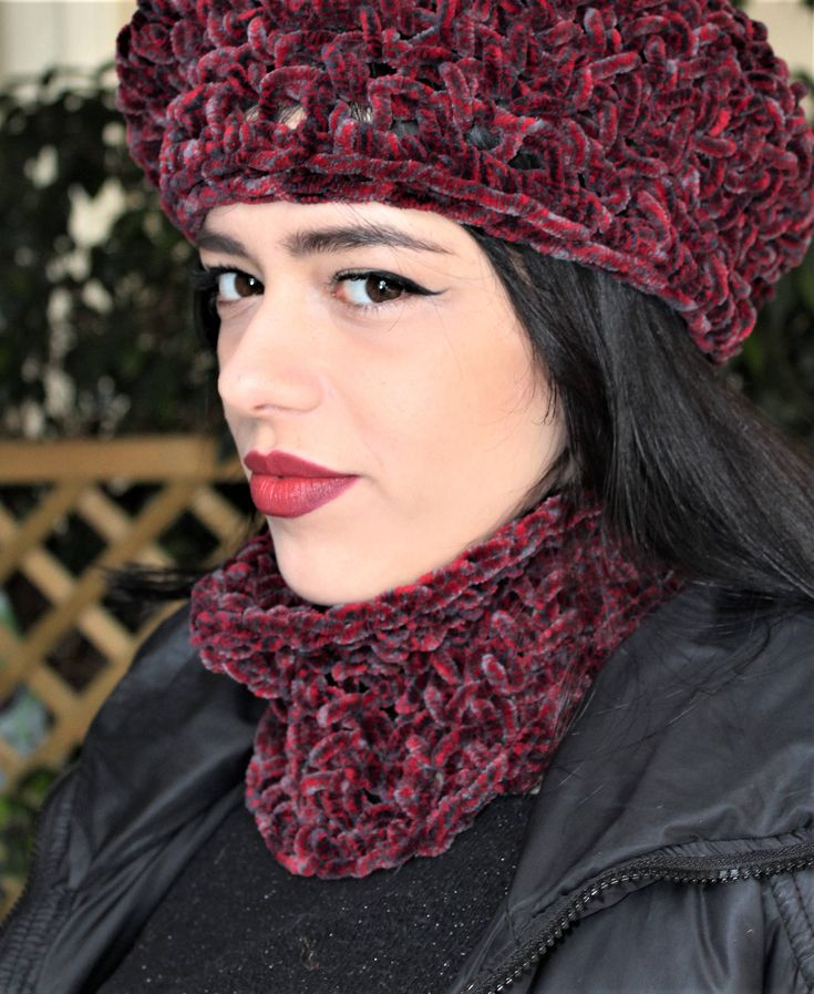 Excited to share the latest addition to my #etsy shop: Womens Valentines day gift, Velvet cowl neck scarf, Luxury neck warmer, Circle knit scarf, Crochet neck warmer, Knit cowl, Free shipping http://etsy.me/2D896Hf #accessories #scarf #red #birthday #valentinesday #gra