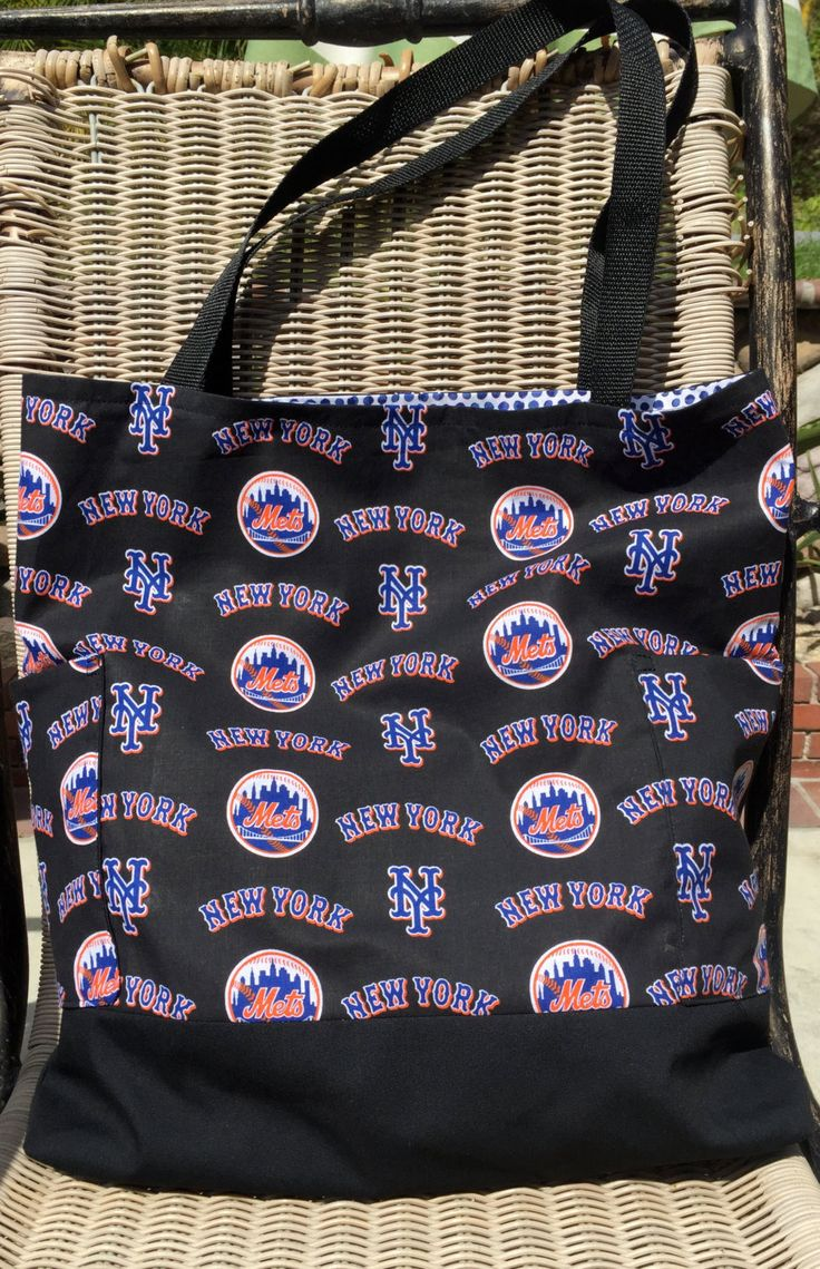 New York Mets Custom Diaper Bag, Daddy Diaper Bag, Tote Bag, Purse, Two Outside Pockets, Baby Shower Gift, Shopping Bag, Gender Neutral by designsbyfancyrose on Etsy