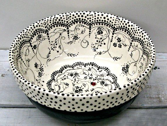 Black and White and Lovely All Over...Vintage Style Bowl by Paula Odell