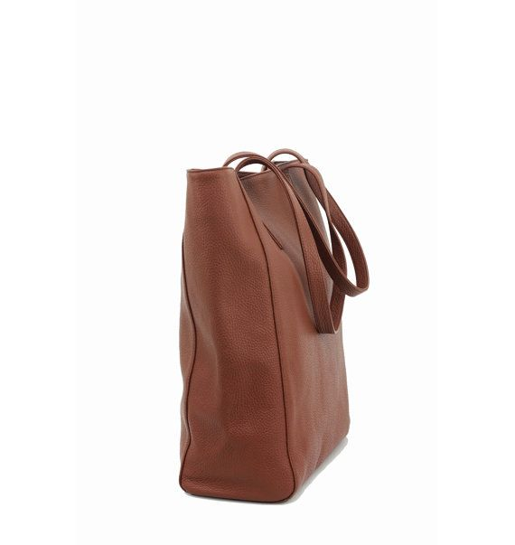 LIN - Chestnut Brown Leather Tote Bag by MISHKA