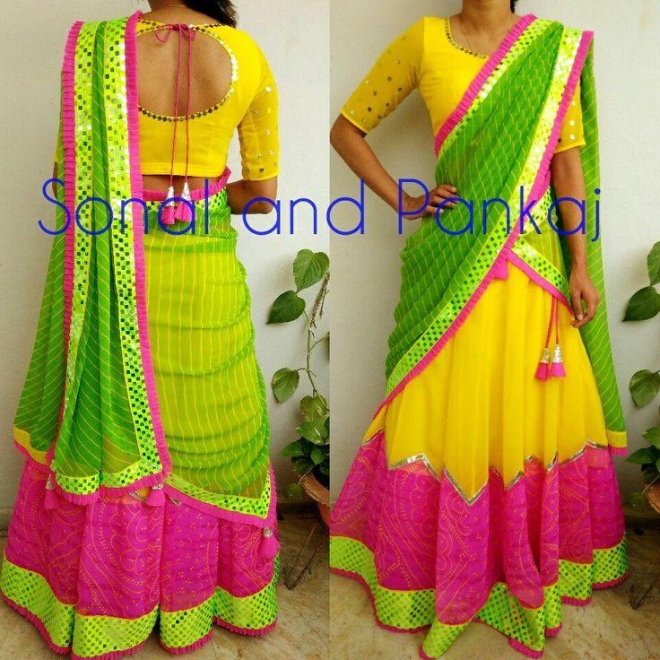 Beautiful pink color bandhni and green leheriya lehenga chunni.Selected color customization available Whatsapp for orders and booKings at +919669166763 . 18 July 2017