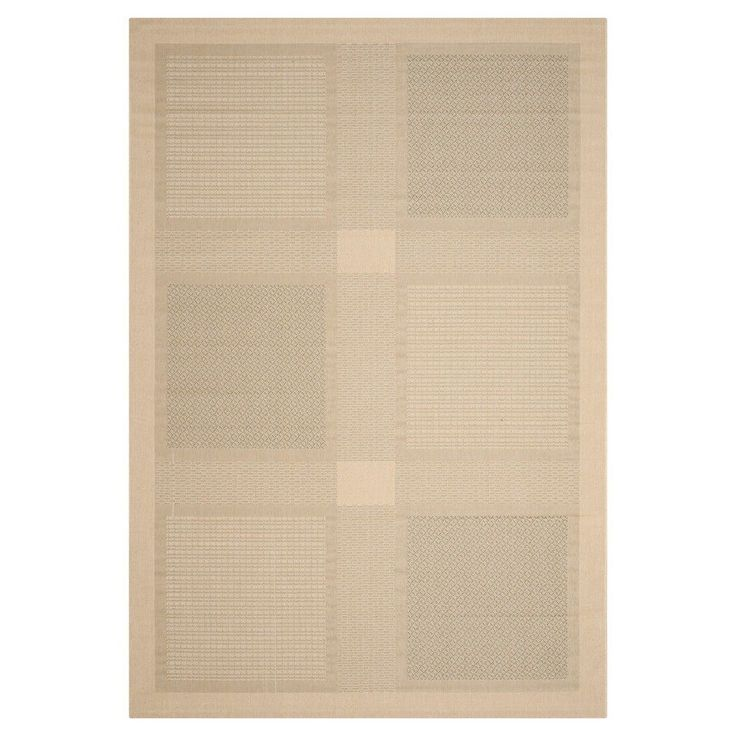 """Montpellier Rectangle 5'3"""" X 7'7"""" Outdoor Patio Rug - Natural / Olive - Safavieh, Natural/Green"""