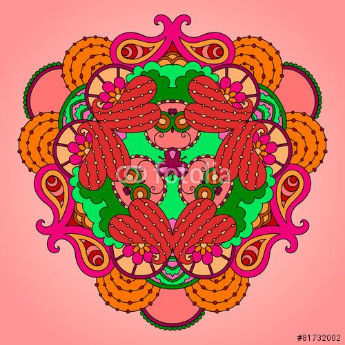 Вектор: Pink-green mandala on a light background.