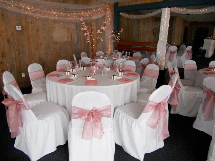 White Linen With Baby Pink Napkins Banquet Chair Covers Organza Sashes