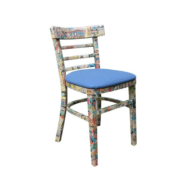 Decoupage chair made with comic book art. This interesting art chair is made by Bombus in the UK. For more designs, check out the Etsy shop.