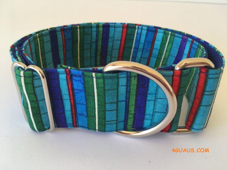 Collar perro Rayas azules, Collar martingale, Collar galgo, Martingale dog collar, Collares para perros, Correa perro, Azul rayas, rojo de 4GUAUS en Etsy