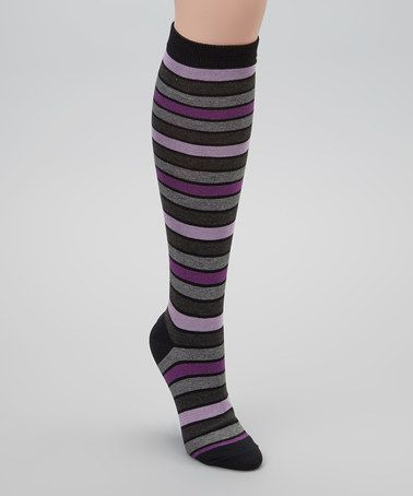 Take a look at this Black & Purple Stripe Knee-High Socks by Cole Haan on #zulily today!