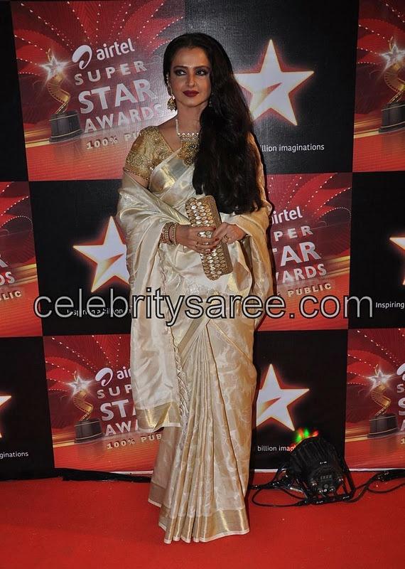 Rekha With Off White Mysore Silk Sari Gemini GanesanSaree Blouse PatternsIndian