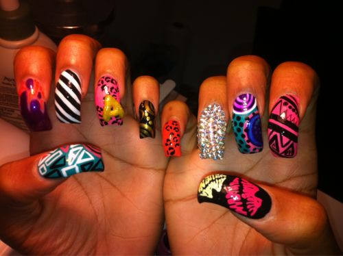 Ghetto Nail Designs | ... UGA art, nails art, dope, long nails, pink, nail art, fashion, ghetto